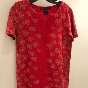 Red cotton dress with poppy flower pattern